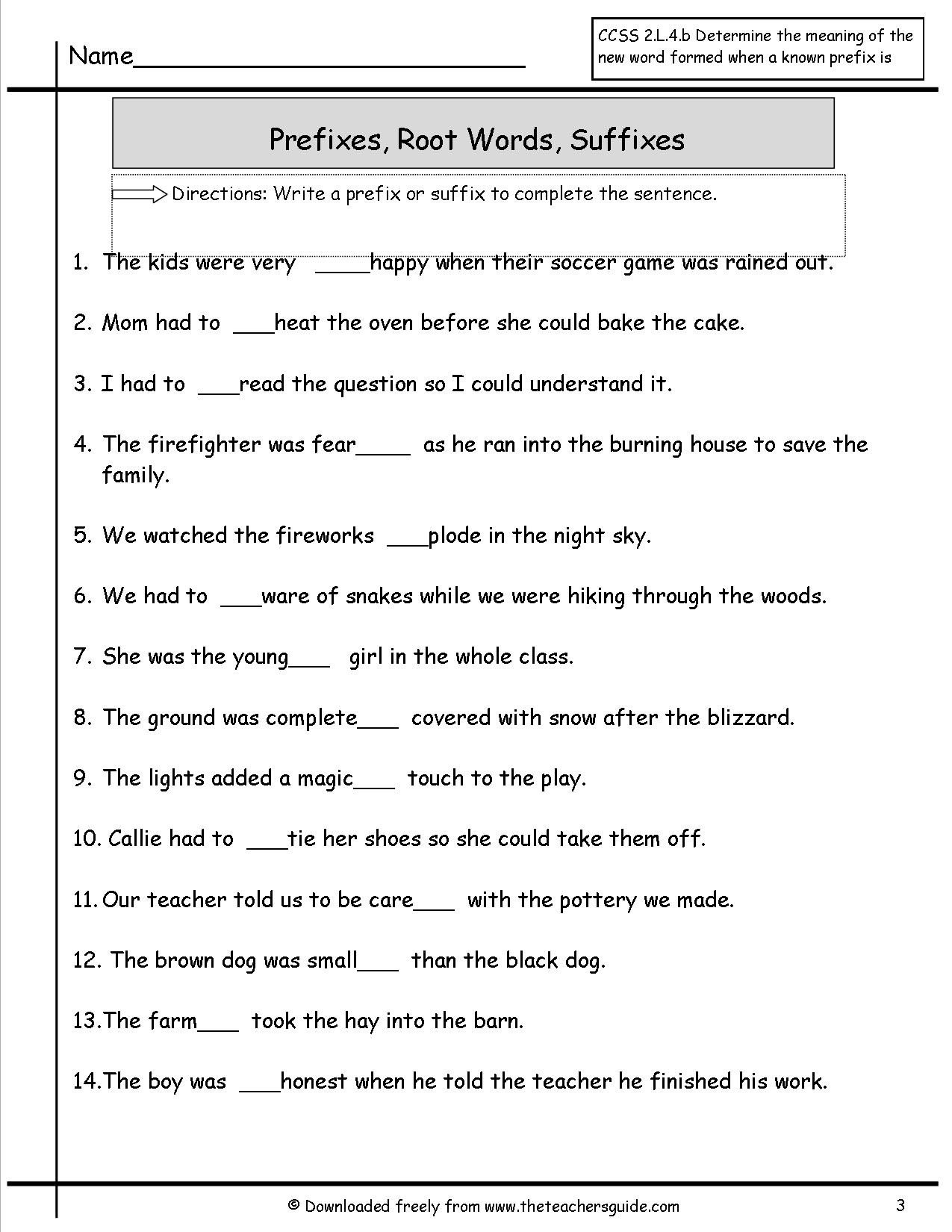 Free Prefix and Suffix Worksheet Awesome Prefixes and Suffixes Worksheet