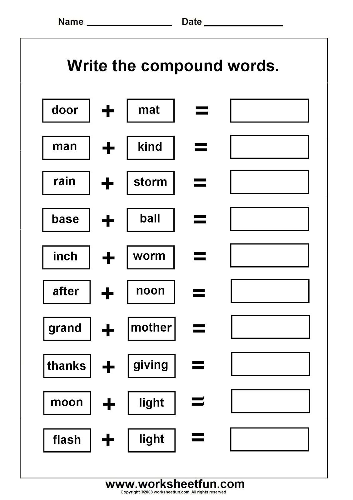 Free Printable Compound Word Worksheets Pound Words Worksheets Grade 3