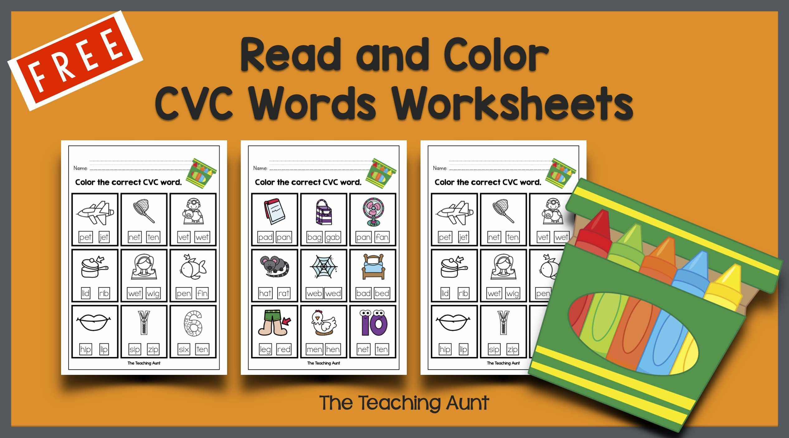 Free Printable Cvc Worksheets Read and Color Cvc Words Worksheets the Teaching Aunt