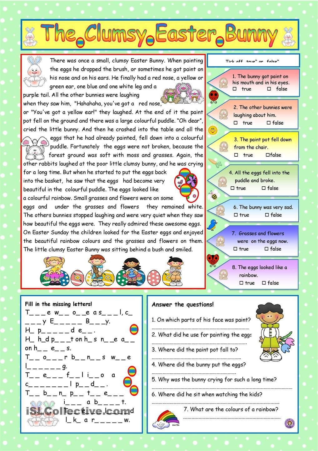 Free Printable Dog Training Worksheets the Clumsy Easter Bunny Included Reading Prehension