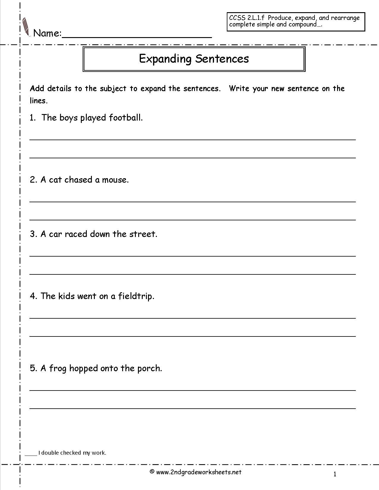 Free Printable Sentence Writing Worksheets Copy Sentence Worksheet First Grade Printable Worksheets and