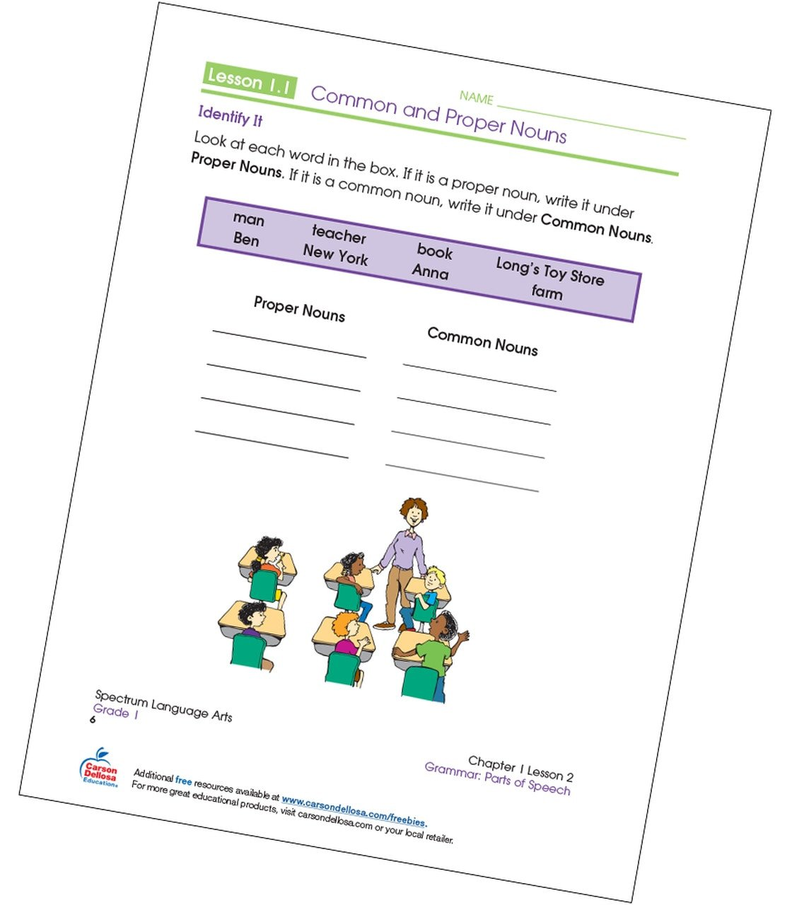 Free Proper Noun Worksheets Identifying Mon and Proper Nouns Grade 1 Free Printable