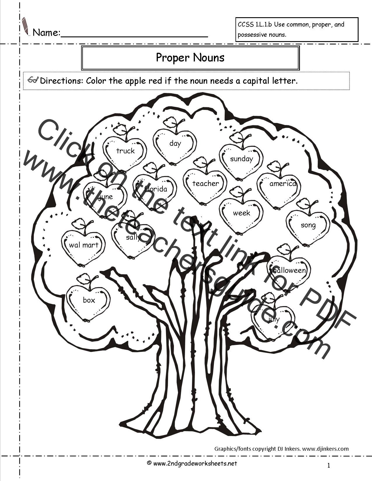 Free Proper Noun Worksheets Mon and Proper Nouns Worksheet