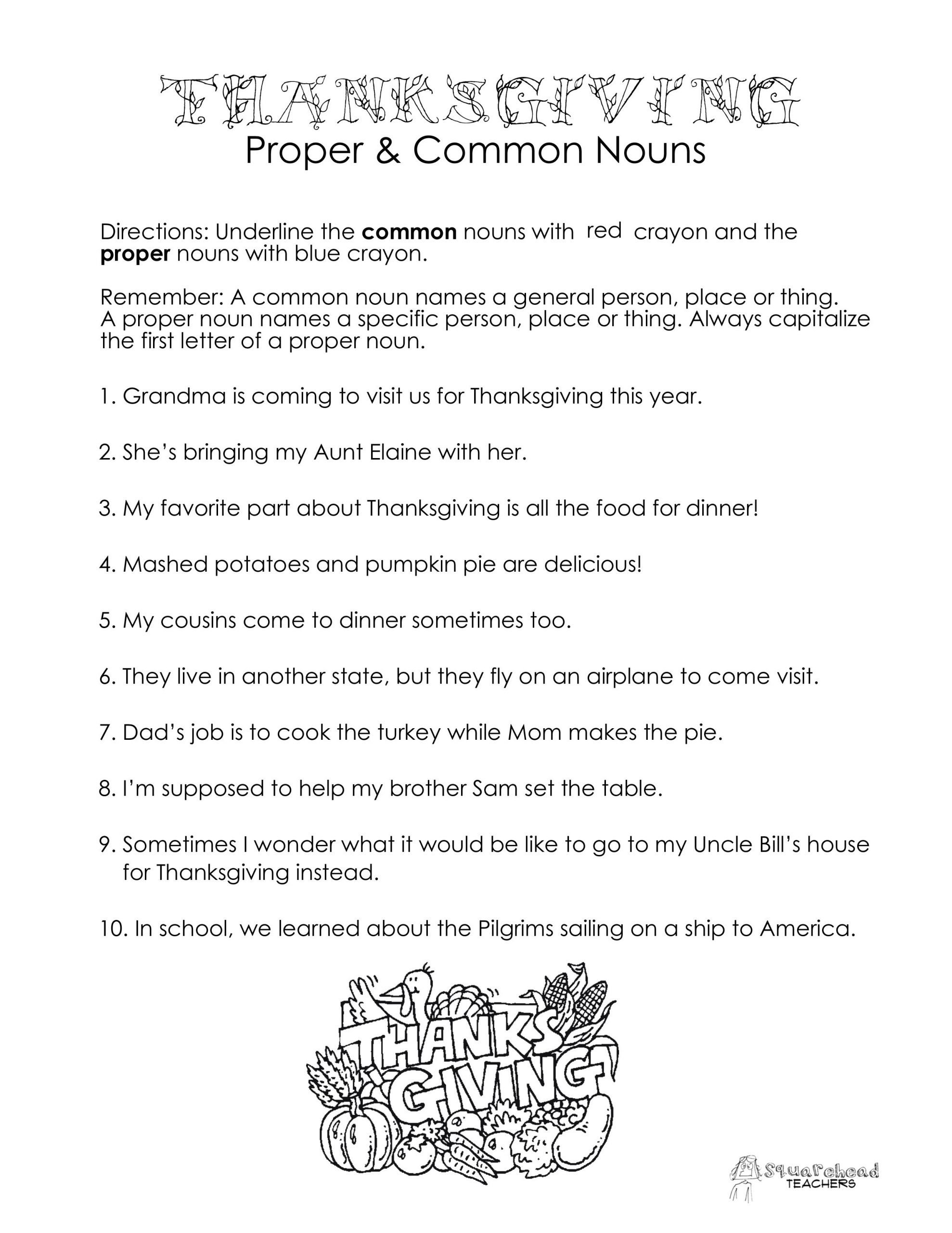 Free Proper Noun Worksheets Thanksgiving Mon Vs Proper Nouns Worksheet
