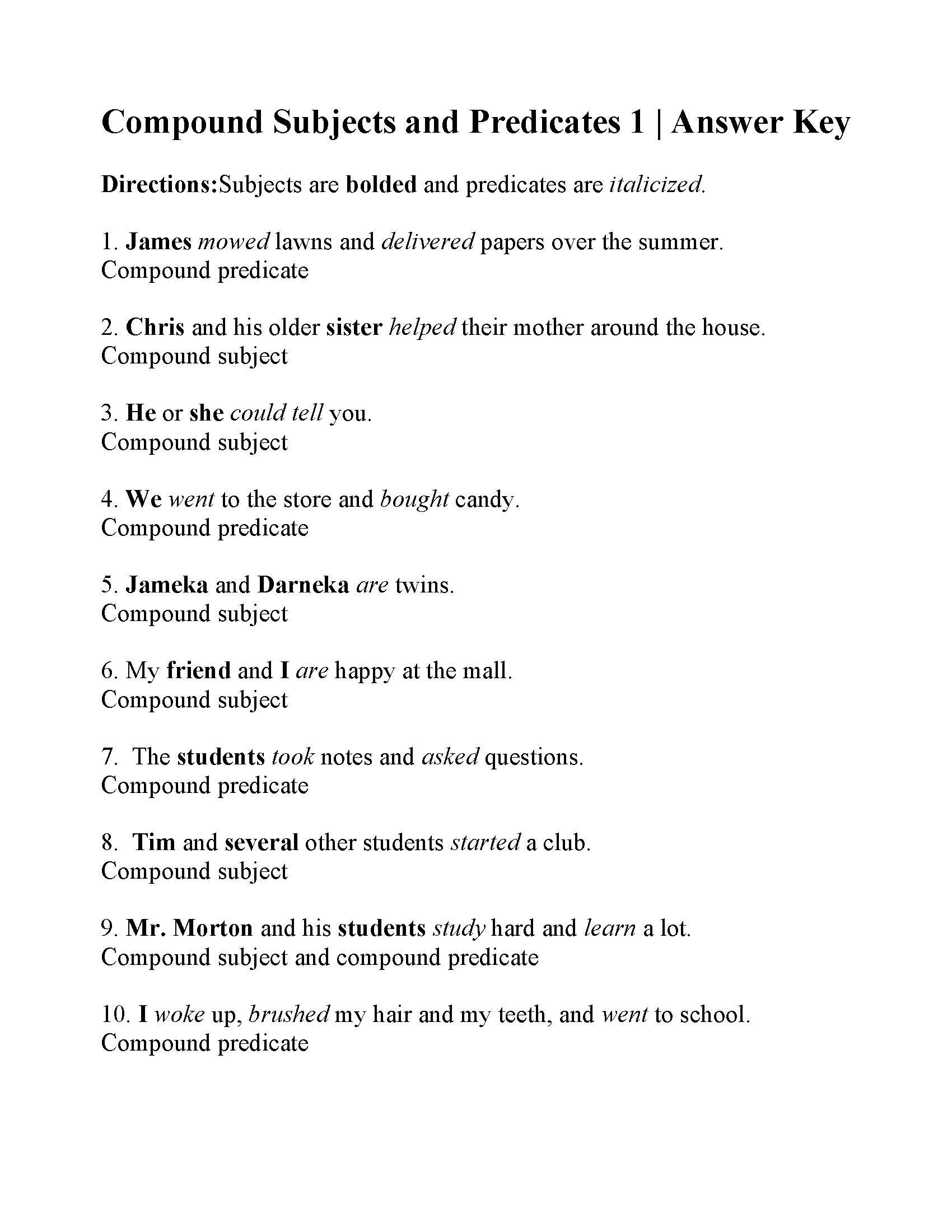 Free Subject and Predicate Worksheets Pound Subjects and Predicates Worksheet