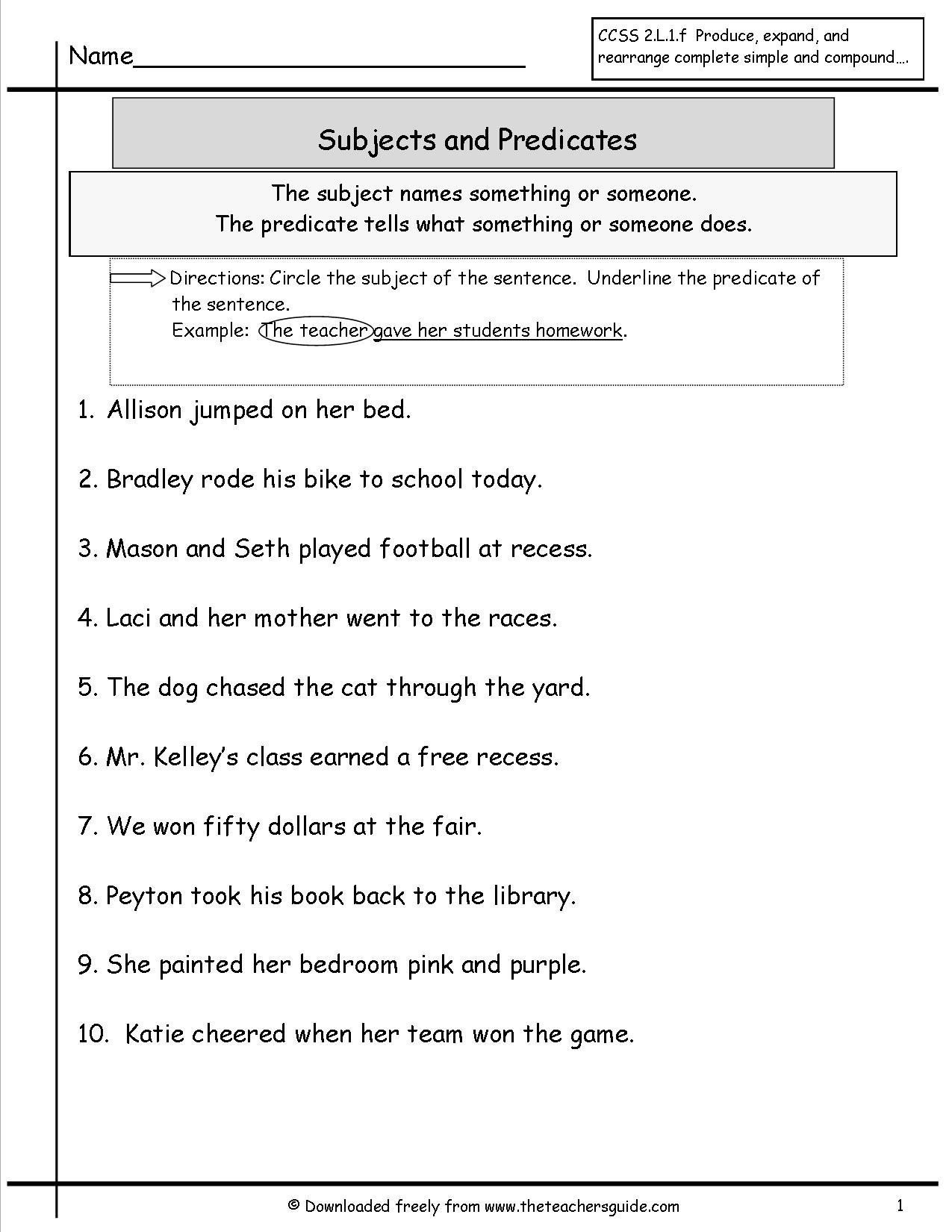 Free Subject and Predicate Worksheets Second Grade Subject and Predicate Worksheet