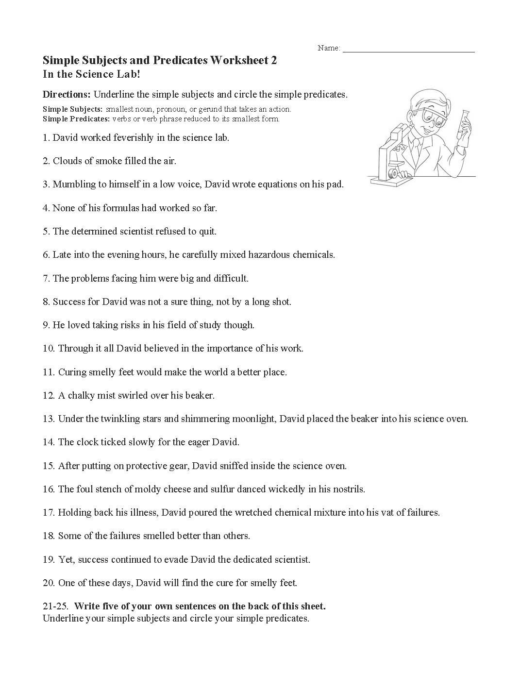 Free Subject and Predicate Worksheets Simple Subjects and Predicates Worksheet 2