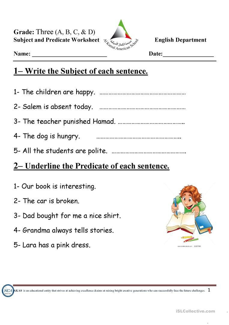 Free Subject and Predicate Worksheets Subject and Predicate English Esl Worksheets for Distance