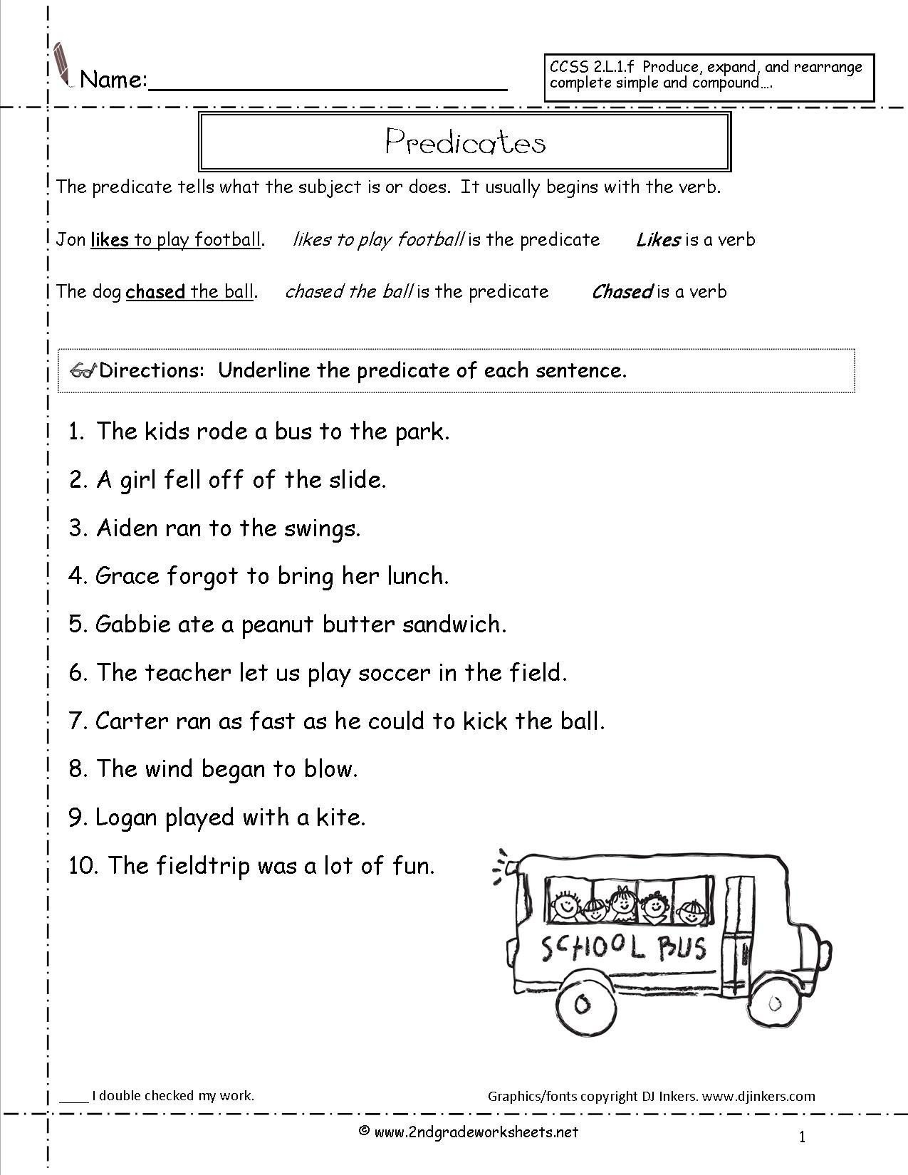Free Subject and Predicate Worksheets Subject Predicate Worksheets