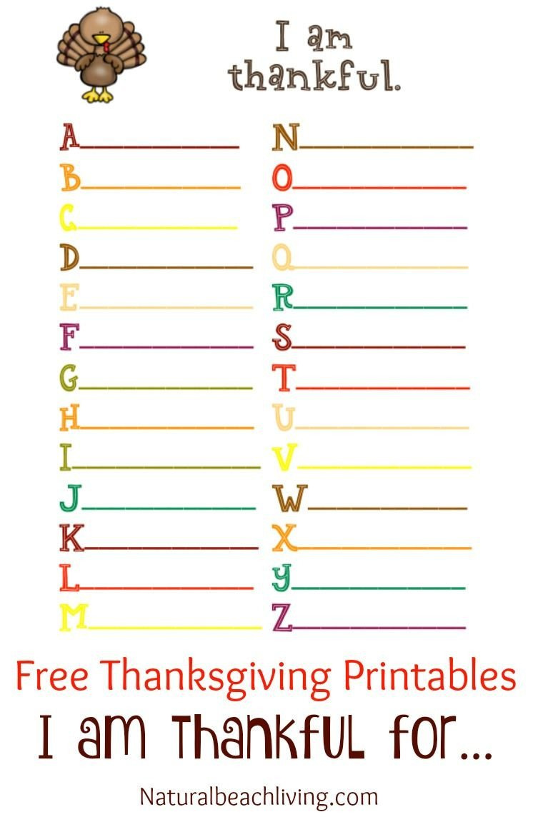 Free Thanksgiving Worksheets for Kindergarten Thanksgiving Coloring and Activity Printables I Am Thankful