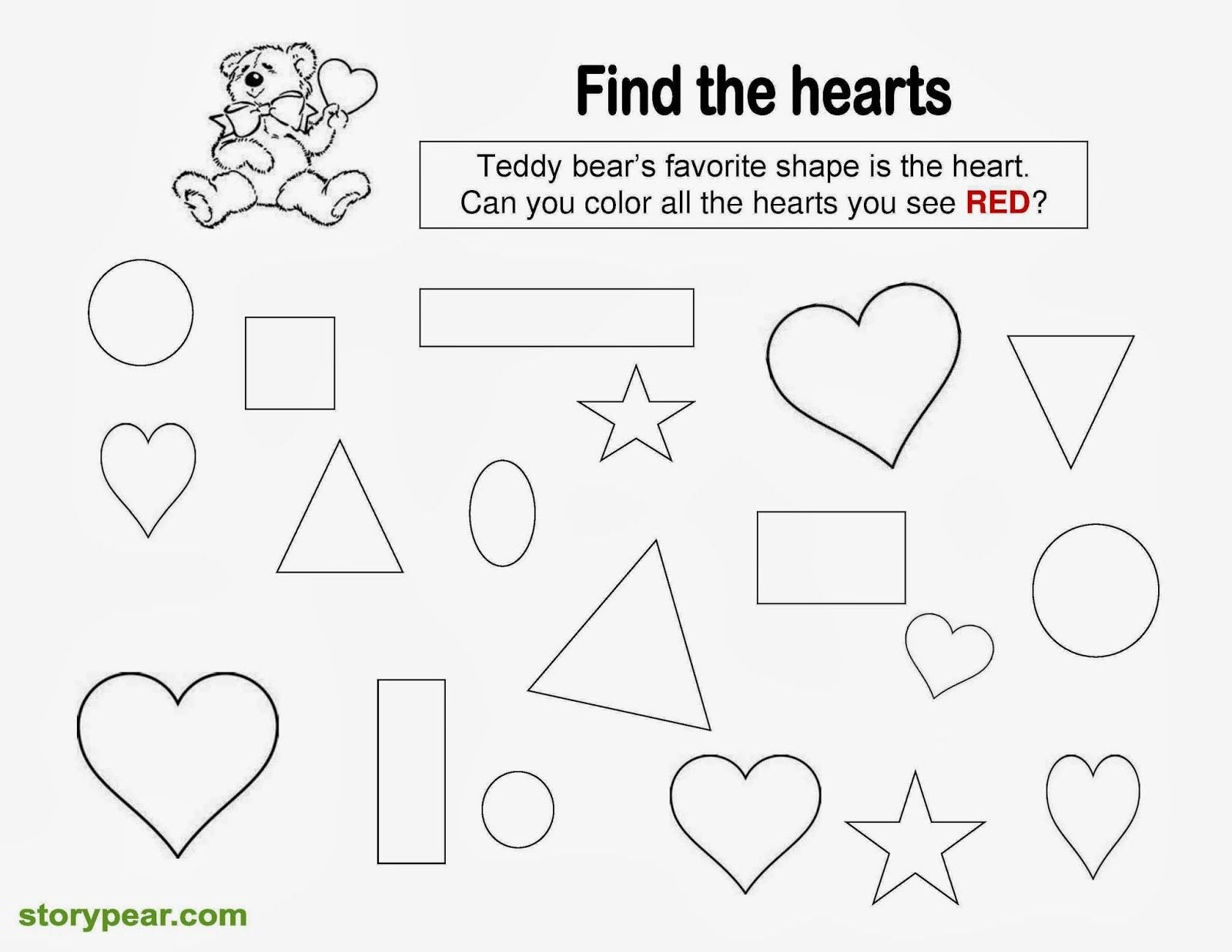 Free Valentine Worksheets for Kindergarten Story Pear Free Valentine Day S Printable Sheets for