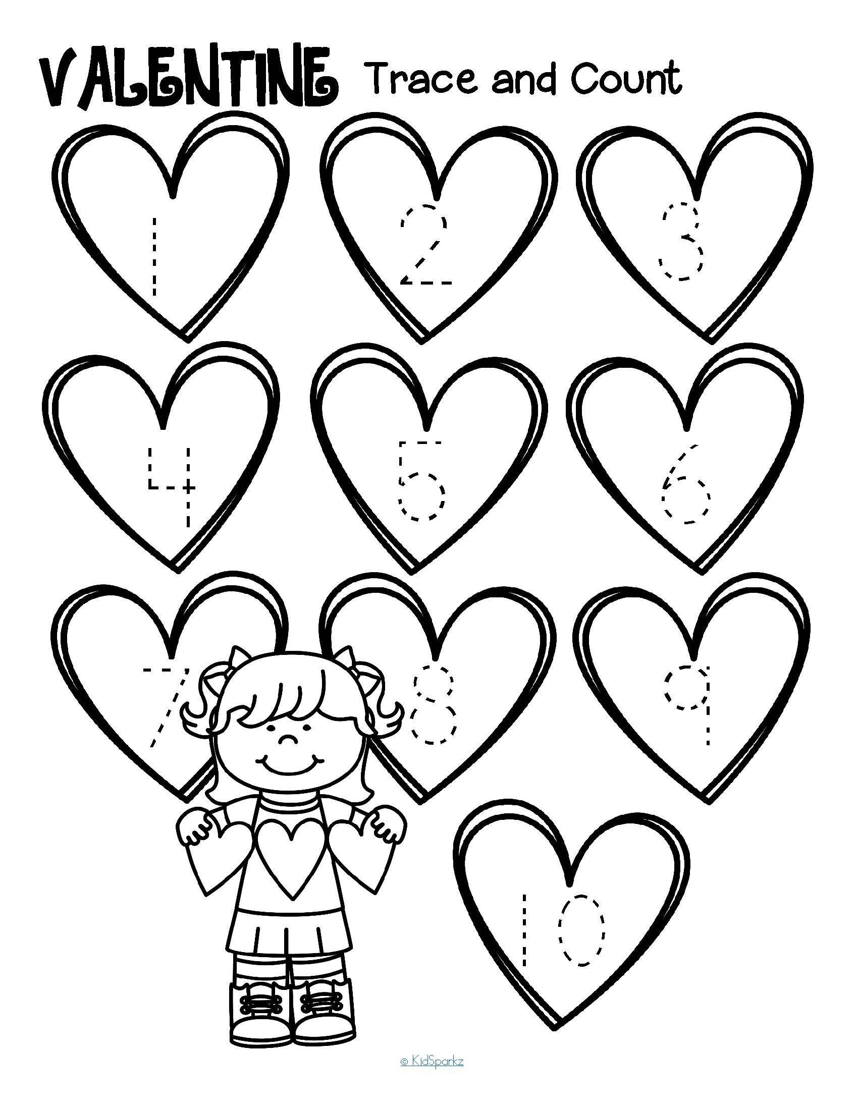 Free Valentine Worksheets for Kindergarten Worksheets Free Valentine Tracing Numbers and Counting