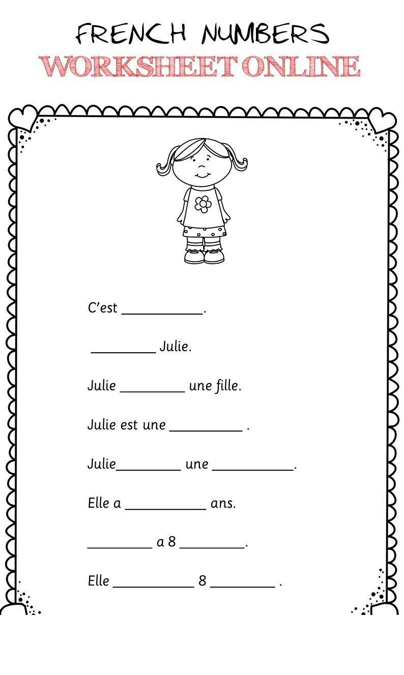 French Printable Worksheets French Numbers Worksheet Line 2 French Numbers Worksheet
