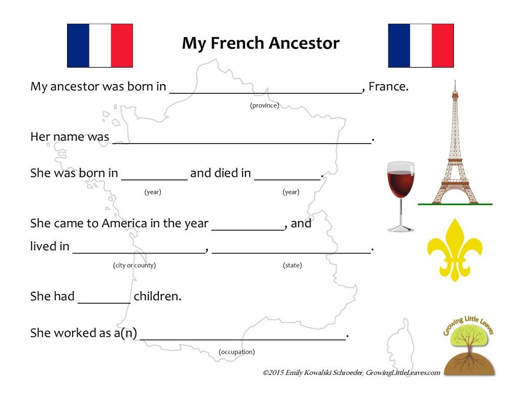French Printable Worksheets Growing Little Leaves Family History for Children Growing