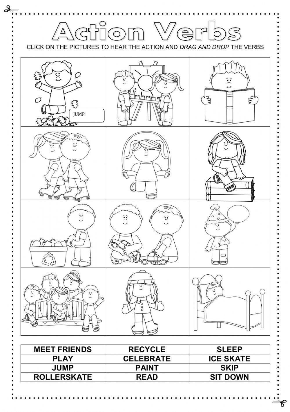 Friendship Worksheets for Kindergarten Action Verbs Interactive and Able Worksheet Check