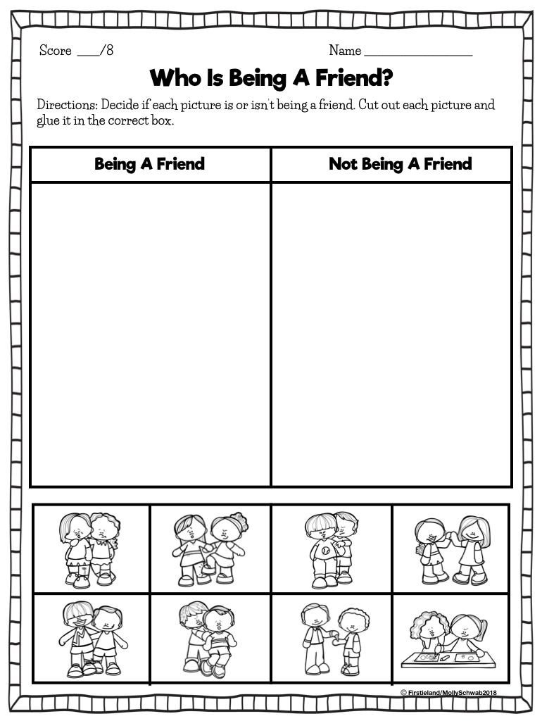 Friendship Worksheets for Kindergarten First Grade Blog Firstieland Friendship Activities for