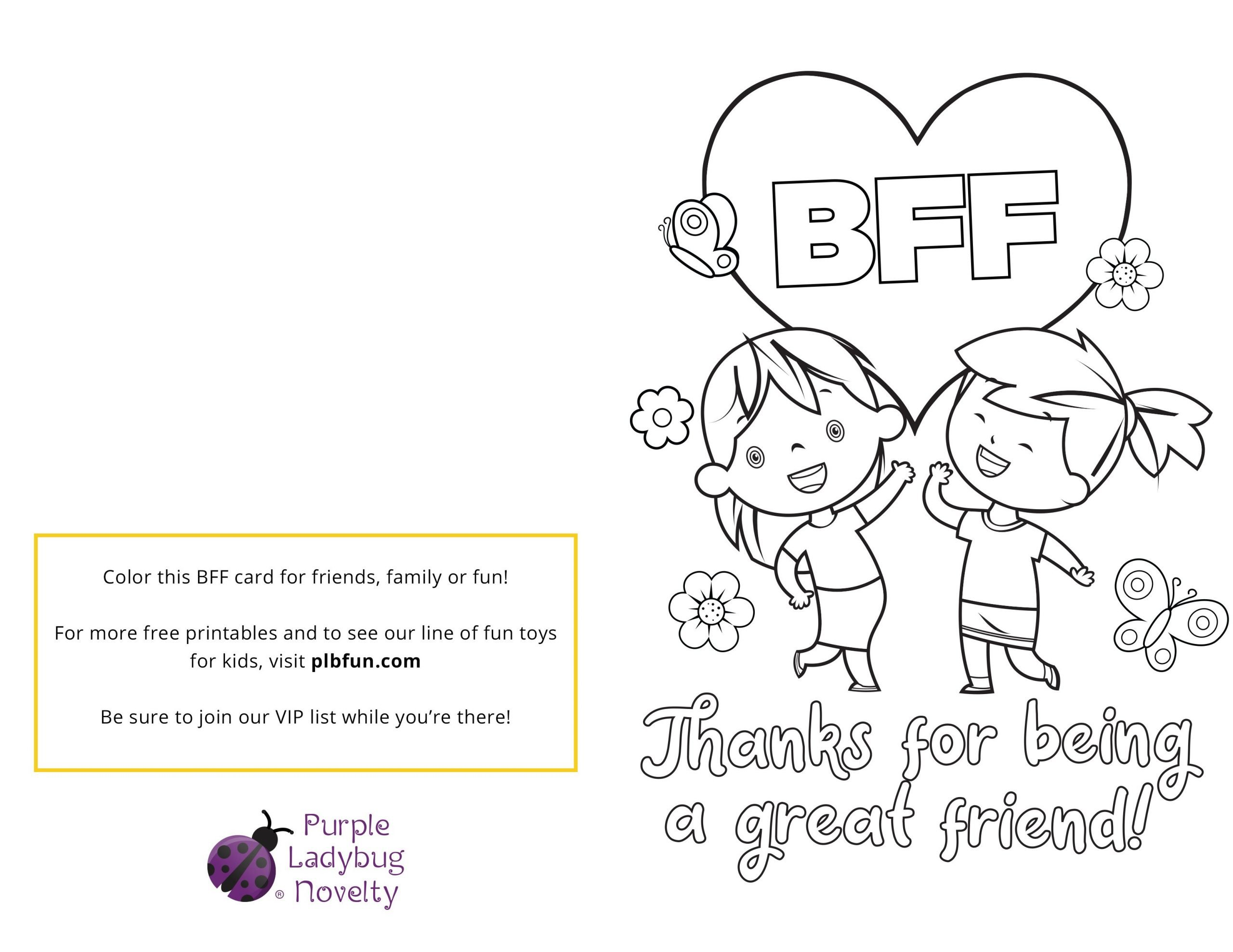 "Friendship Worksheets for Kindergarten Free Printable Bff Card ""best Friends are Family "" — Purple"