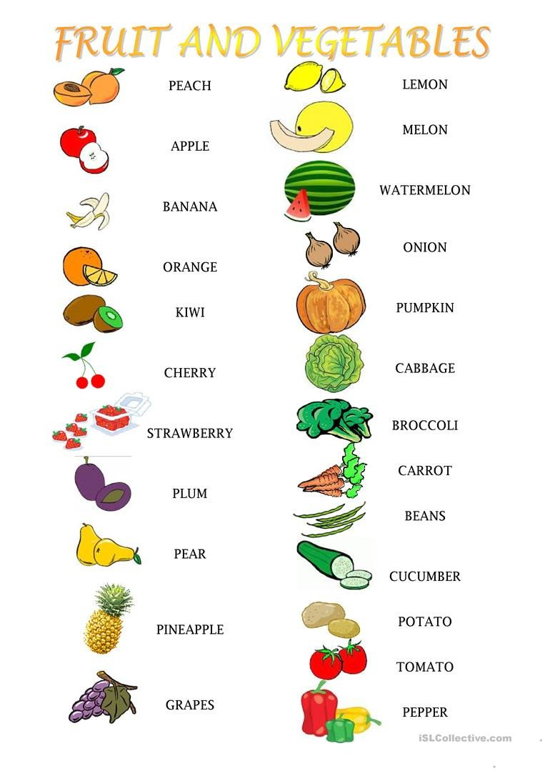 fruit and ve ables