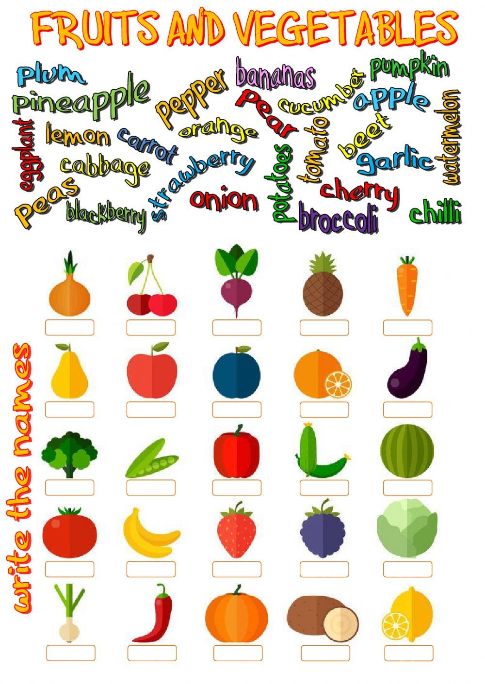 Fruits and ve ables Interactive worksheet