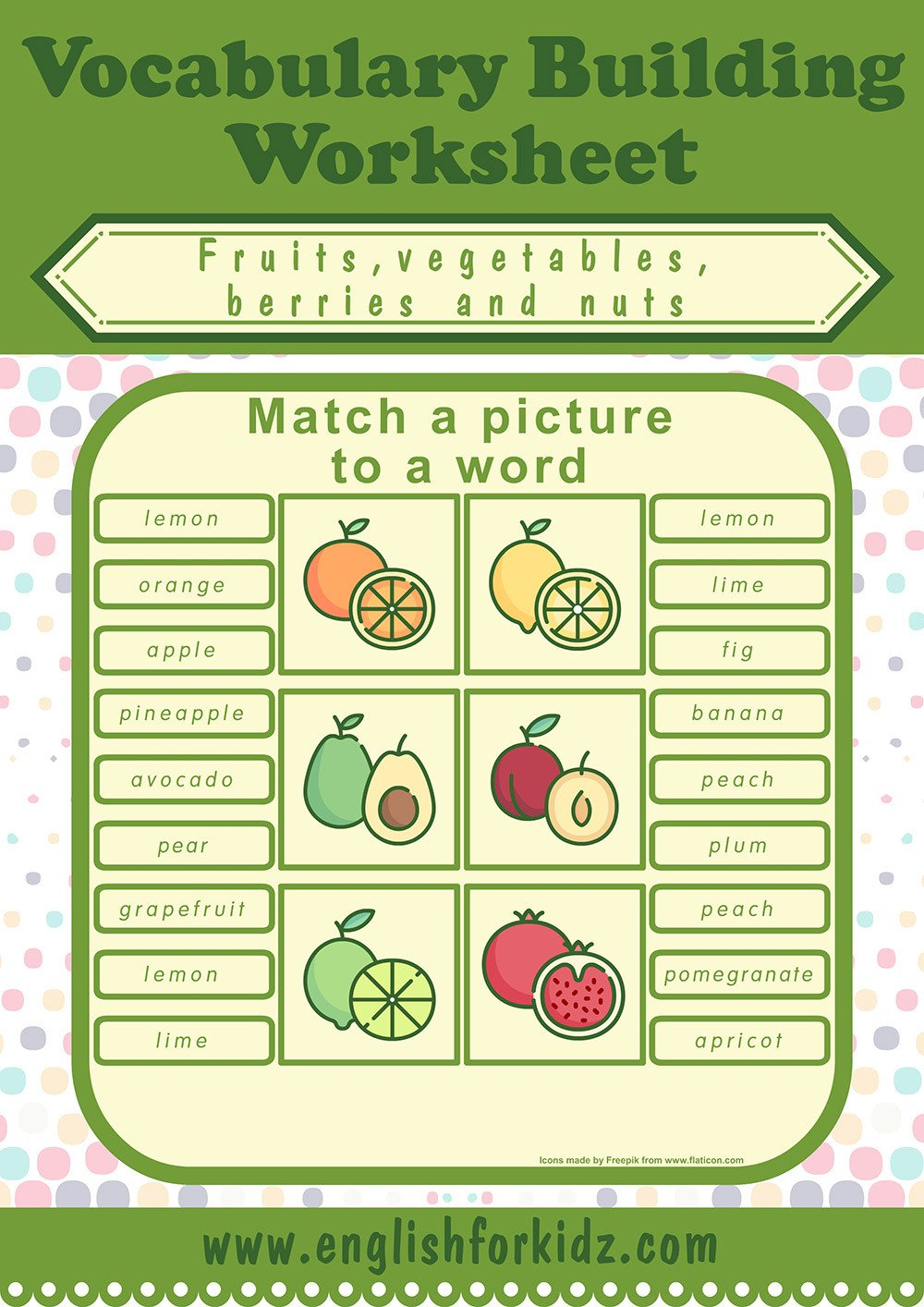 fruits ve ables picture word matching worksheet 1