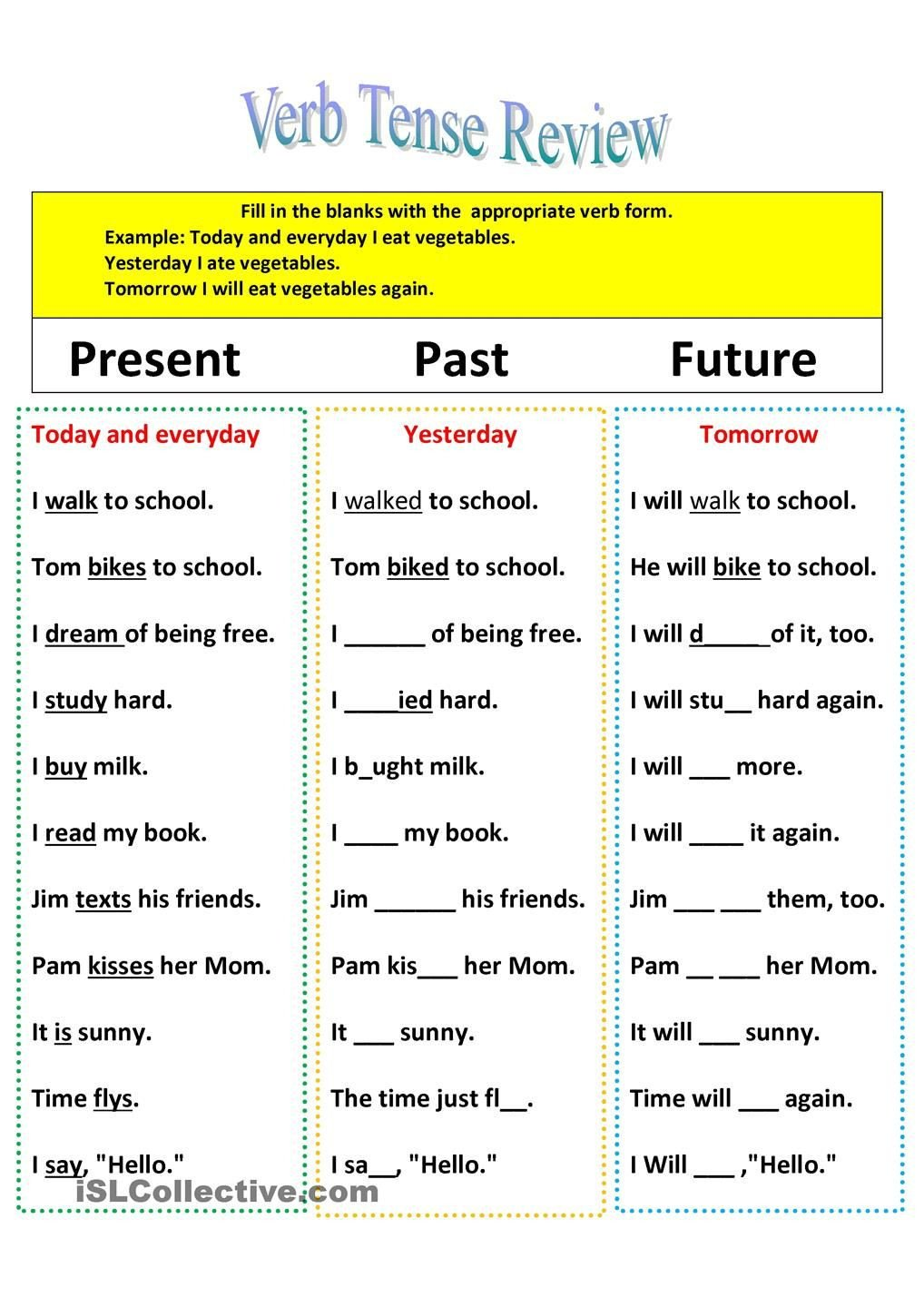 Future Tense Verbs Worksheet Revision Of Verb Tenses Present Past and Future