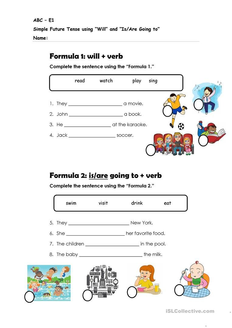 Future Tense Verbs Worksheet Simple Future Tense Will and is are Going to English Esl
