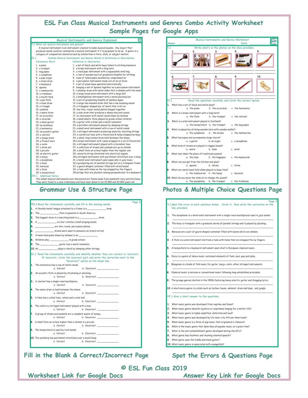 Genre Worksheets 4th Grade Musical Instruments and Genres Interactive Worksheets for Google Apps Links