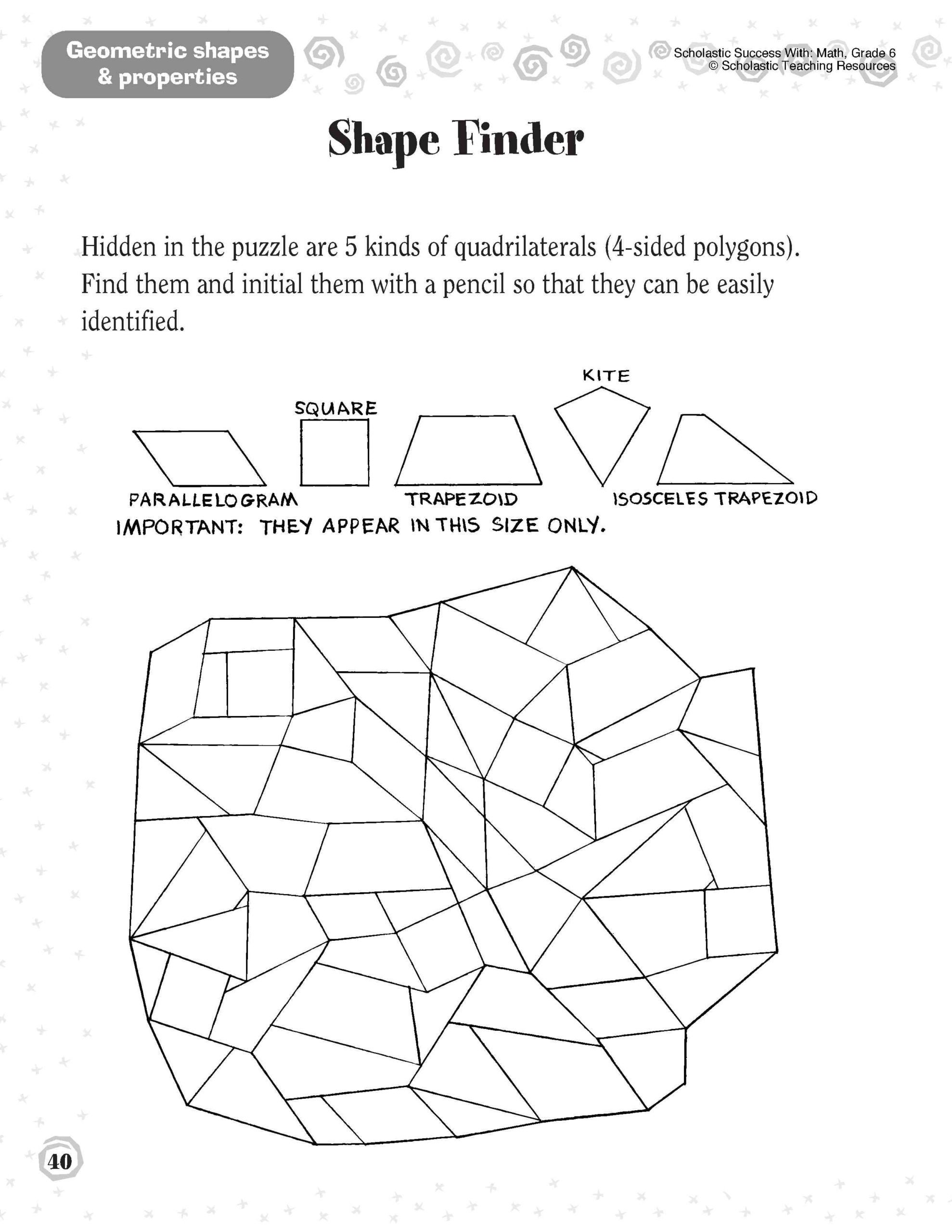 Geometric Shape Pattern Worksheets 1st Grade Shapes Worksheet Printable Worksheets and
