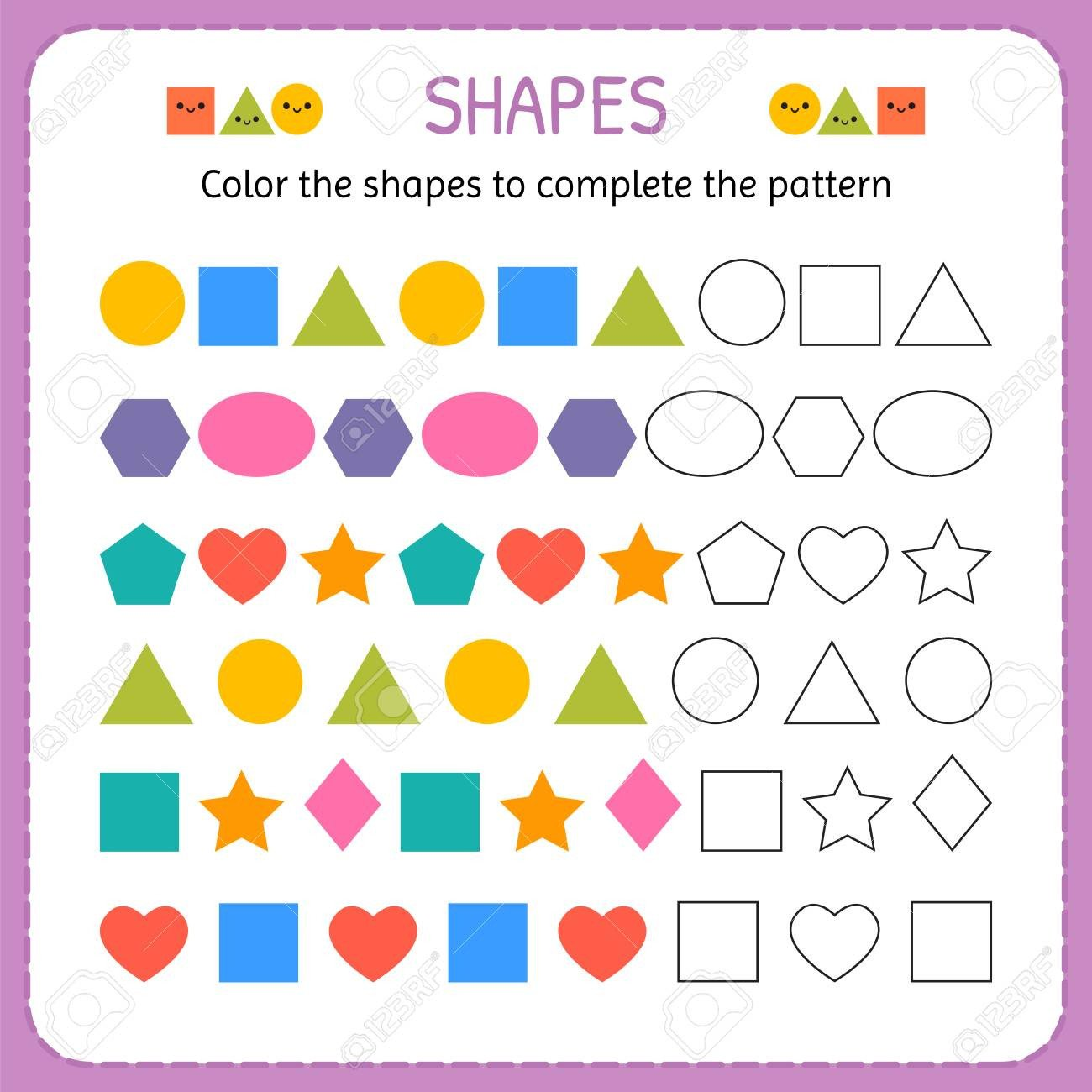 Geometric Shape Pattern Worksheets Color the Shapes to Plete the Pattern Learn Shapes and Geometric