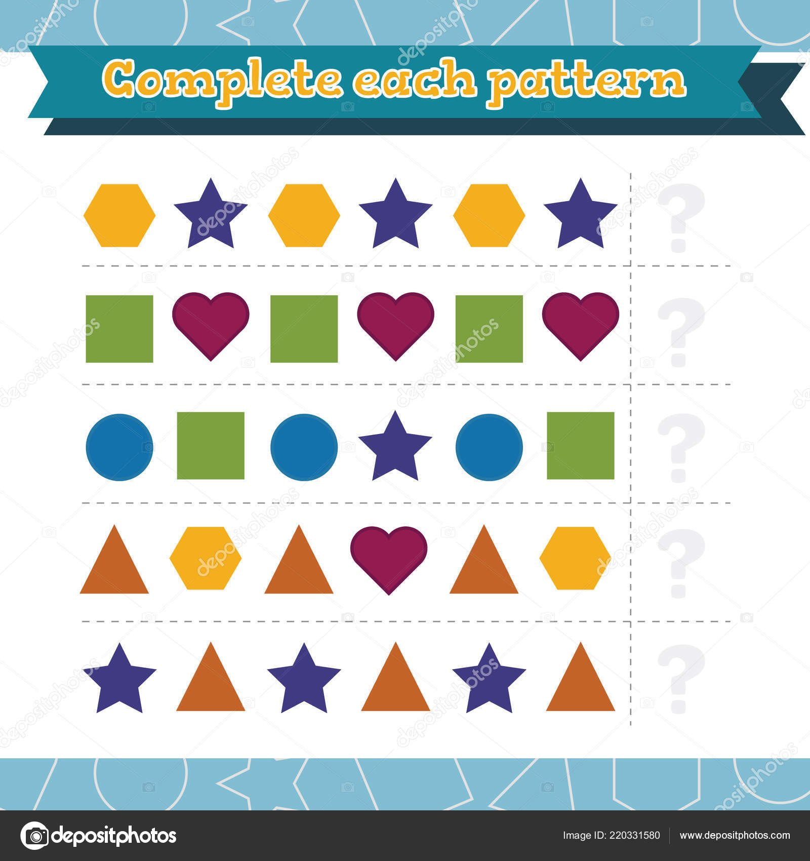 Geometric Shape Pattern Worksheets Game for Preschool Children Learn Shapes and Geometric Figures Plete Each Pattern Preschool or Kindergarten Worksheet Vector Illustration