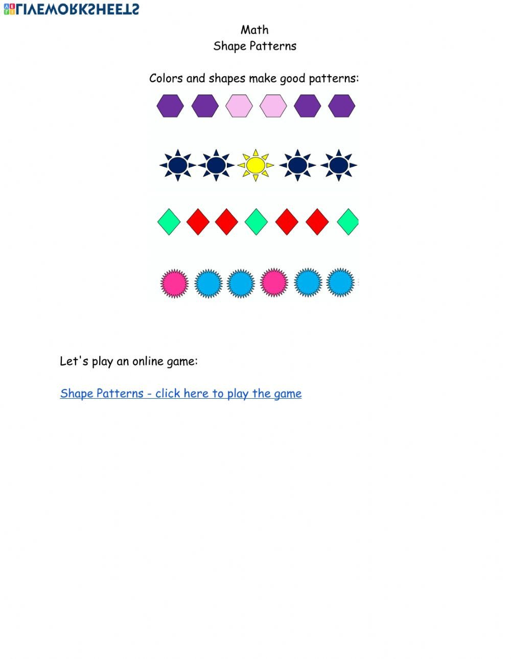 Geometric Shape Pattern Worksheets Math Shape Pattern May 11 Interactive Worksheet