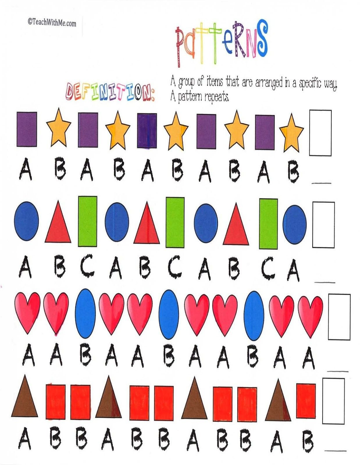 Geometric Shape Pattern Worksheets Pattern Anchor Chart Posters
