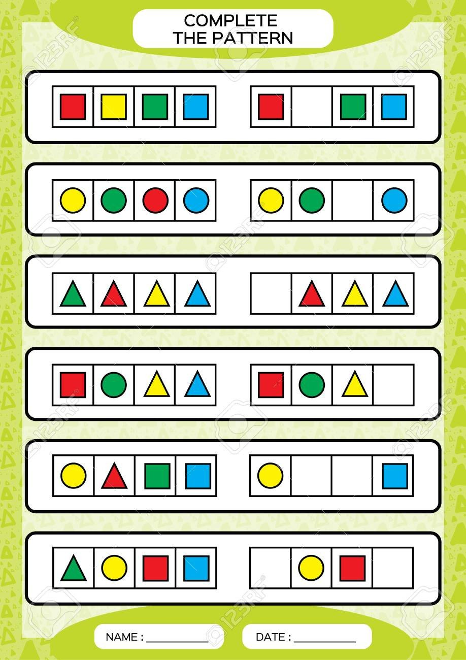 Geometric Shape Pattern Worksheets Plete Simple Repeating Patterns Worksheet for Preschool Kids
