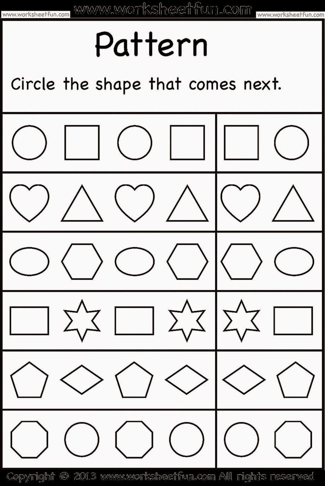 Geometric Shape Pattern Worksheets Worksheetfun Loads Of Free Printable Worksheets for