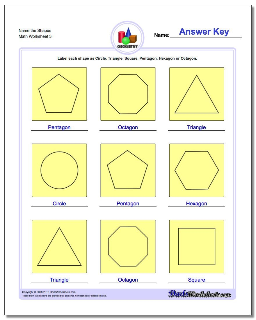 Geometric Shapes Patterns Worksheets Basic Shapes
