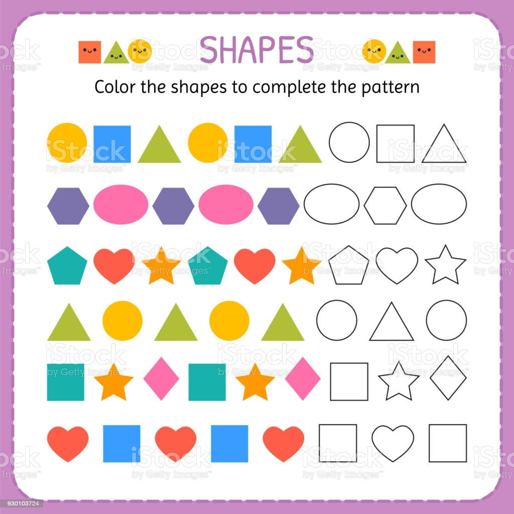 Geometric Shapes Patterns Worksheets Color the Shapes to Plete the Pattern Learn Shapes and Geometric Figures Preschool Kindergarten Worksheet Stock Illustration Download Image