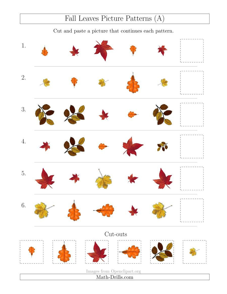 Geometric Shapes Patterns Worksheets Fall Leaves Picture Patterns with Shape Size and Rotation