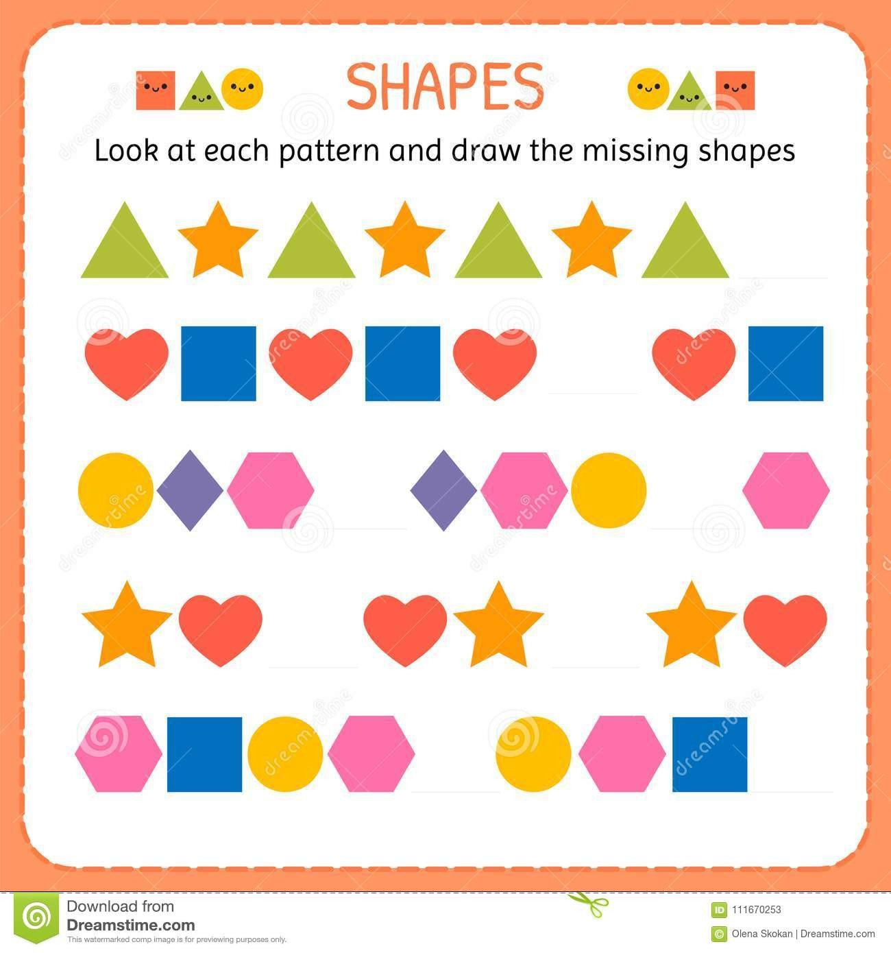 Geometric Shapes Patterns Worksheets Look at Each Pattern and Draw the Missing Shapes Learn