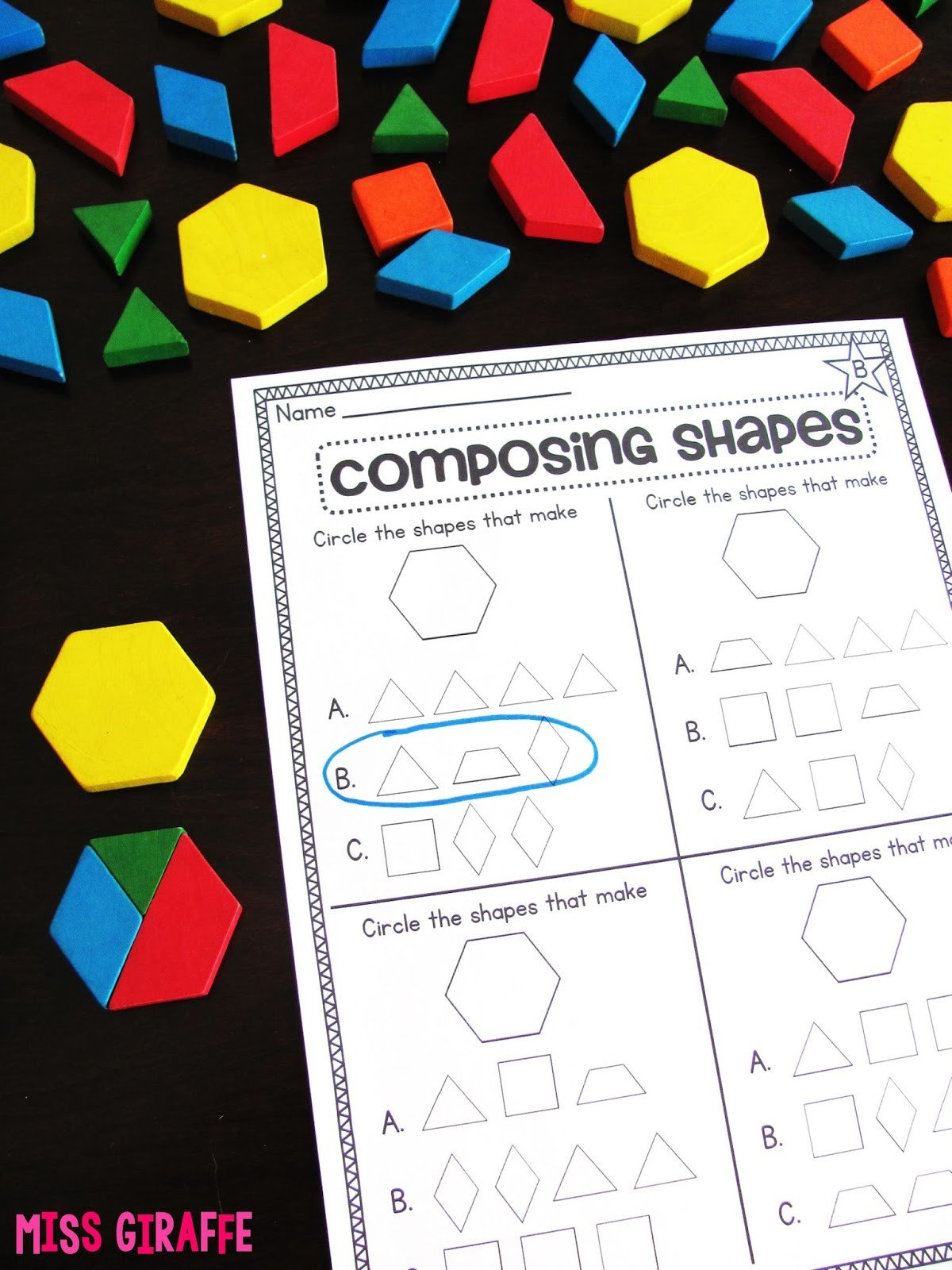 Geometric Shapes Patterns Worksheets Miss Giraffe S Class Posing Shapes In 1st Grade