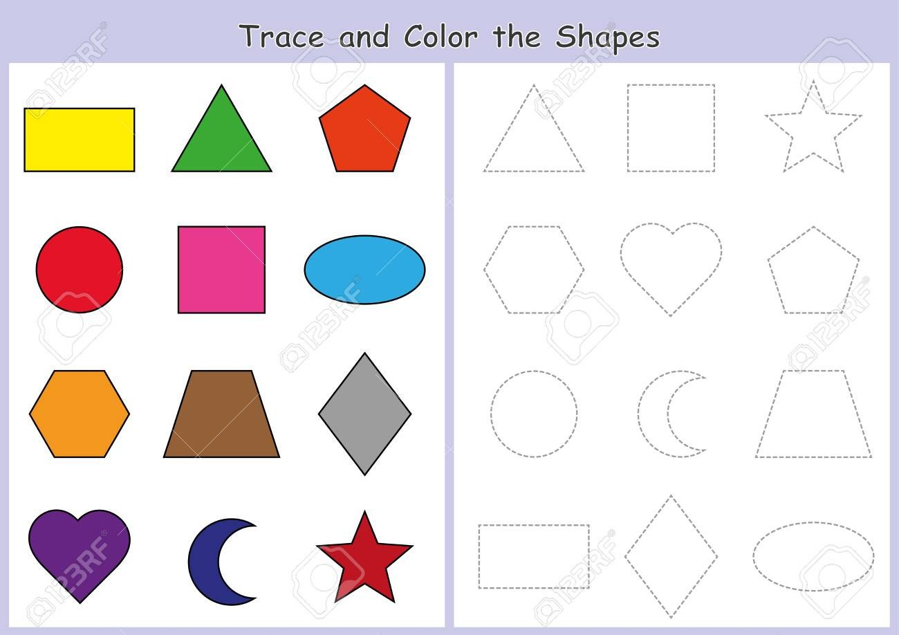 Geometric Shapes Patterns Worksheets Trace and Color the Geometric Shapes Worksheet for Kids Fine