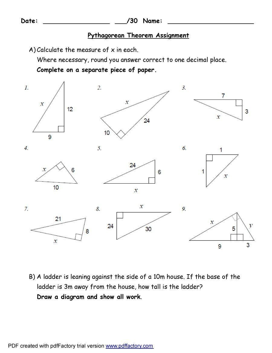 Geometry Word Problems Worksheets 2 Pythagorean Word Problems Worksheet In 2020