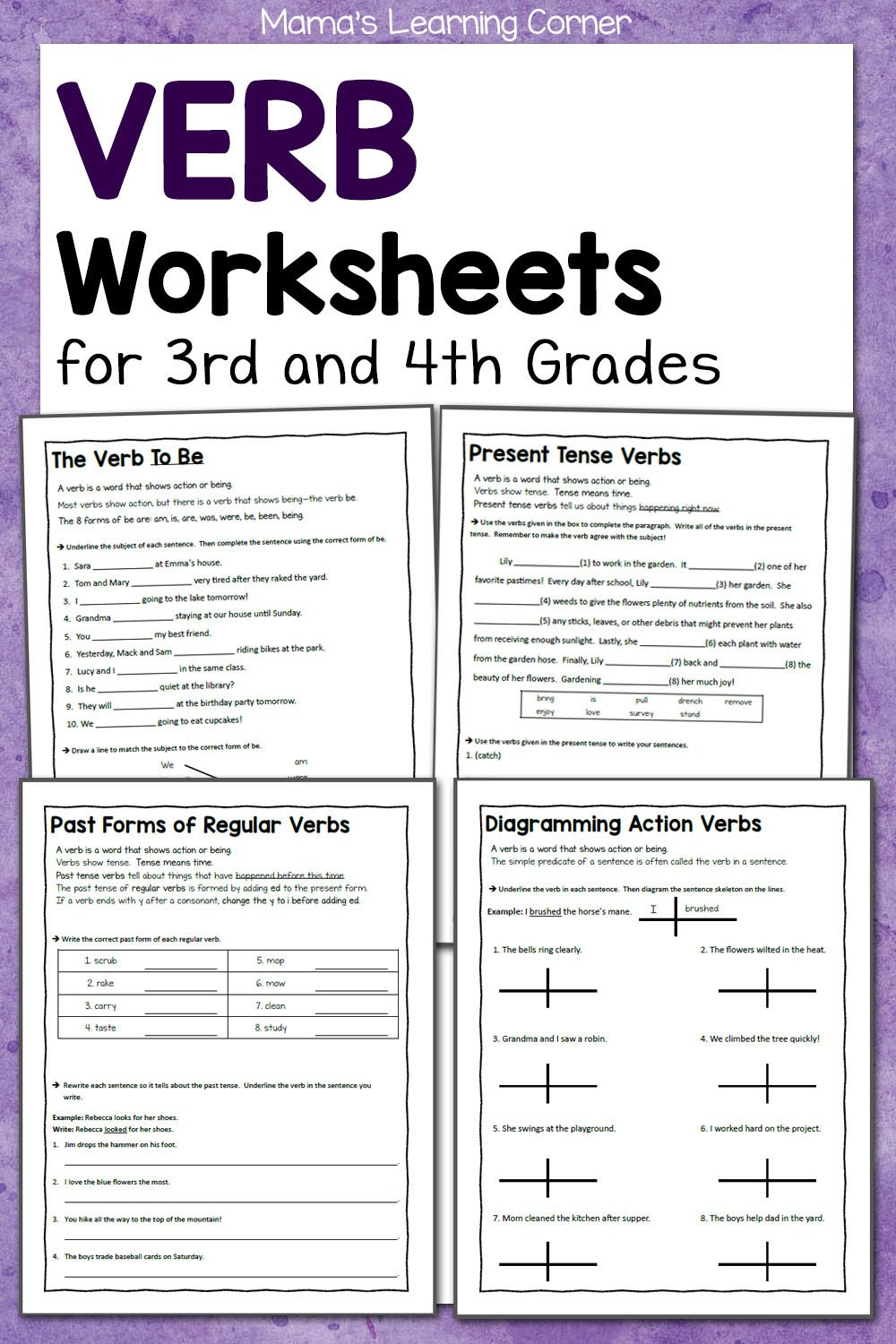 Grammar 3rd Grade Worksheets Verb Worksheets for 3rd and 4th Grades Mamas Learning Corner
