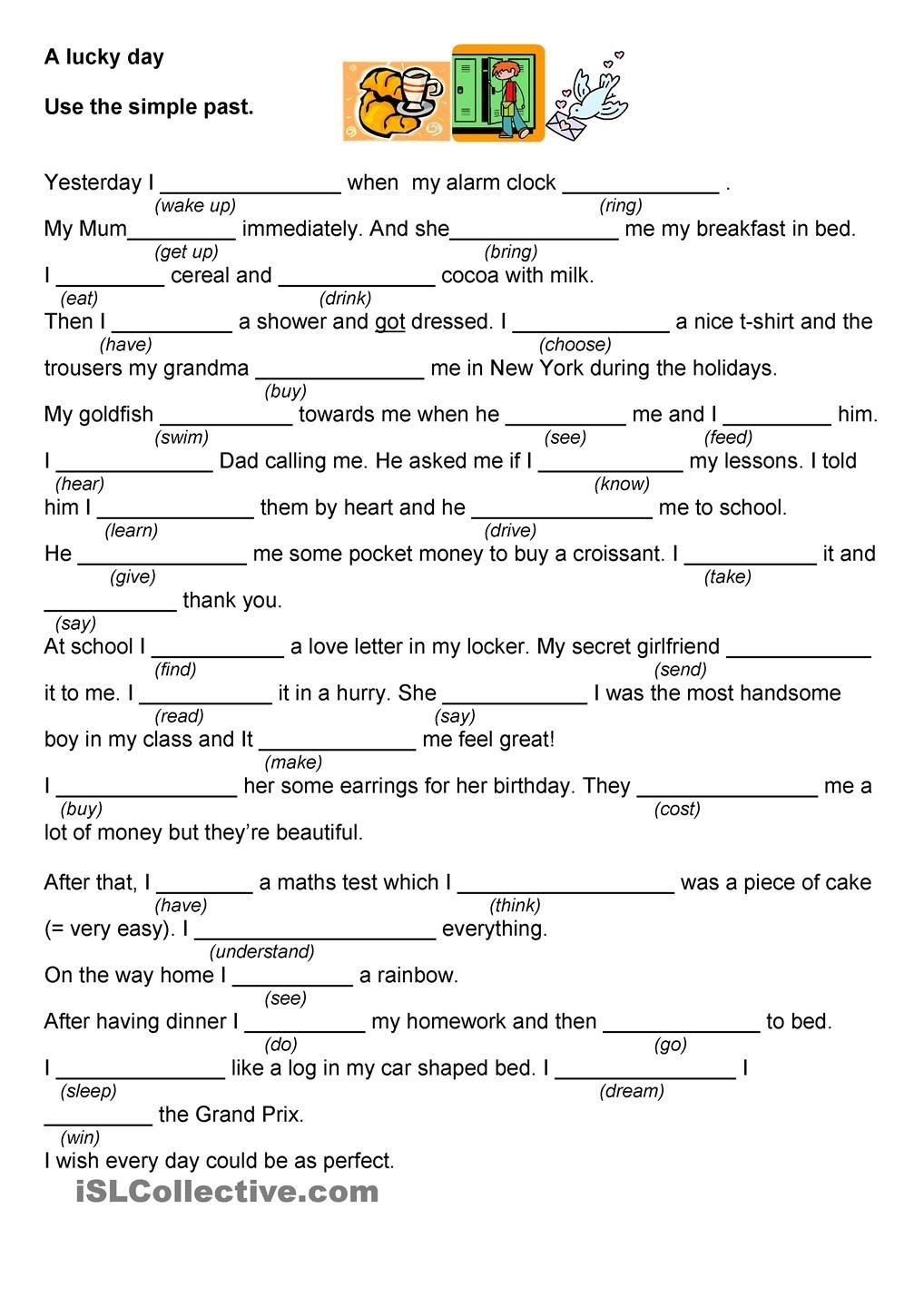 Grammar Worksheets Middle School Pdf A Lucky Day A Bad Day