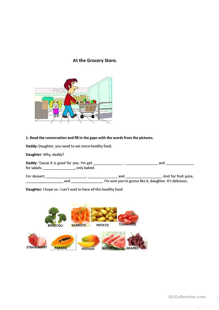 Grocery Store Worksheets at the Grocery Store English Esl Worksheets for Distance