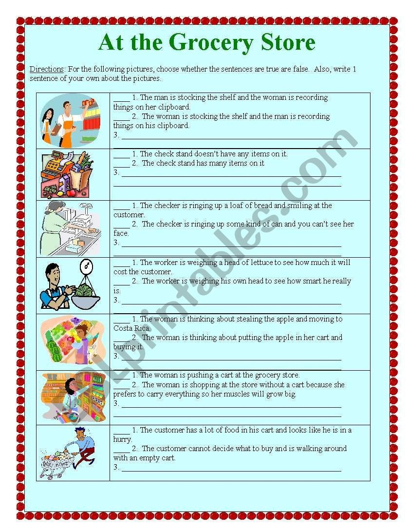 Grocery Store Worksheets at the Grocery Store Esl Worksheet by Suzanne