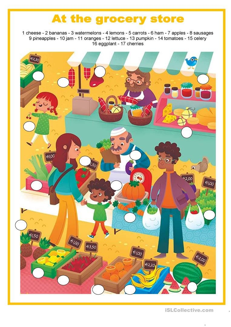 Grocery Store Worksheets Food at the Grocery Store English Esl Worksheets for