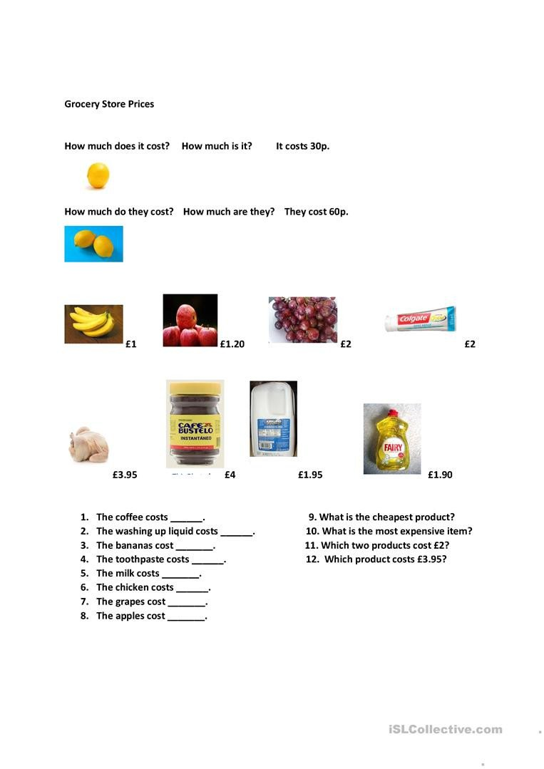 Grocery Store Worksheets Grocery Store Prices English Esl Worksheets for Distance
