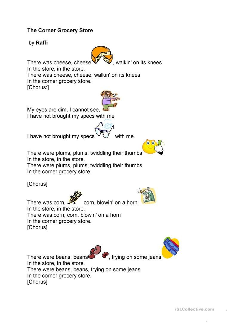 Grocery Store Worksheets the Corner Grocery Store song by Raffi English Esl
