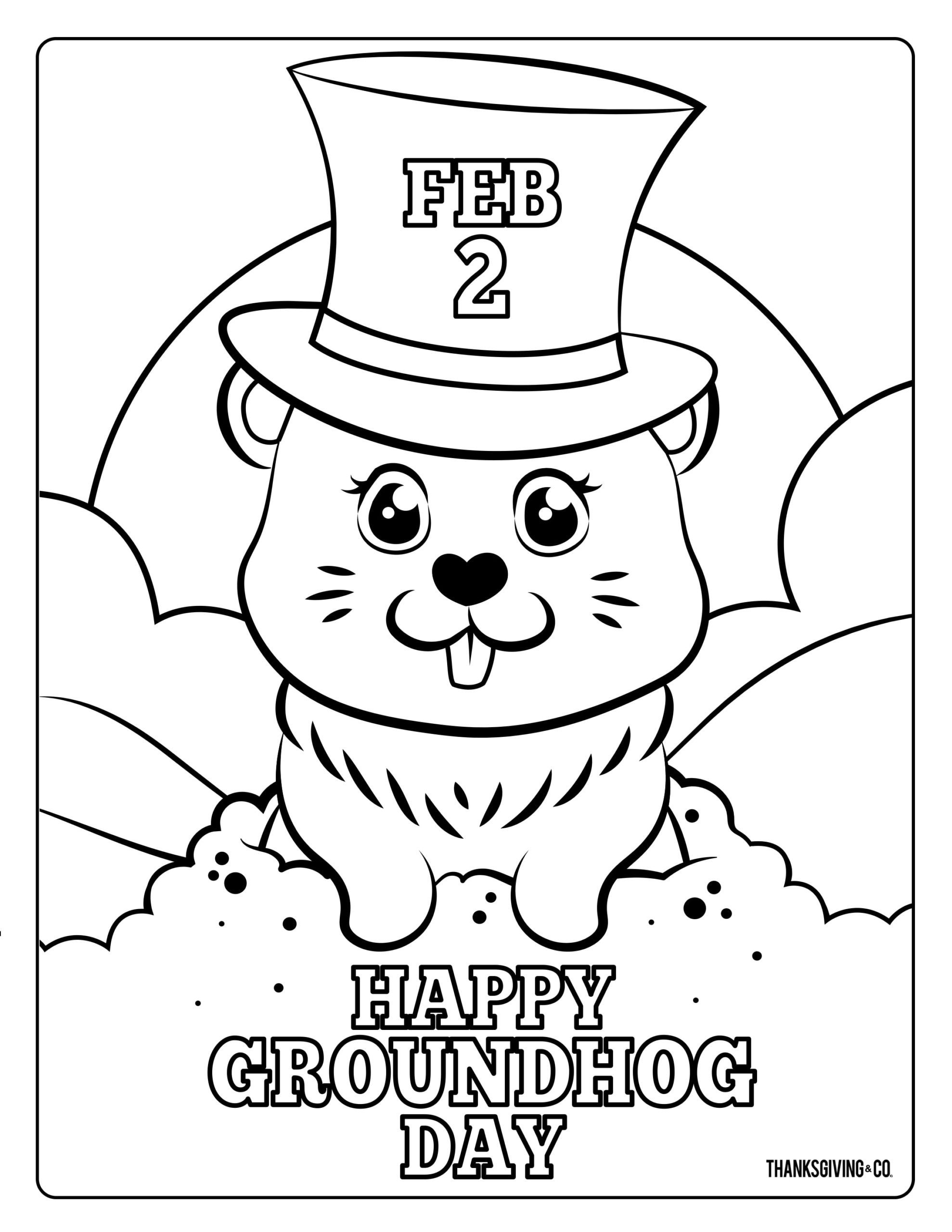 Groundhog Day Worksheets Kindergarten Groundhog Coloring Printable Free Worksheets Adorable for