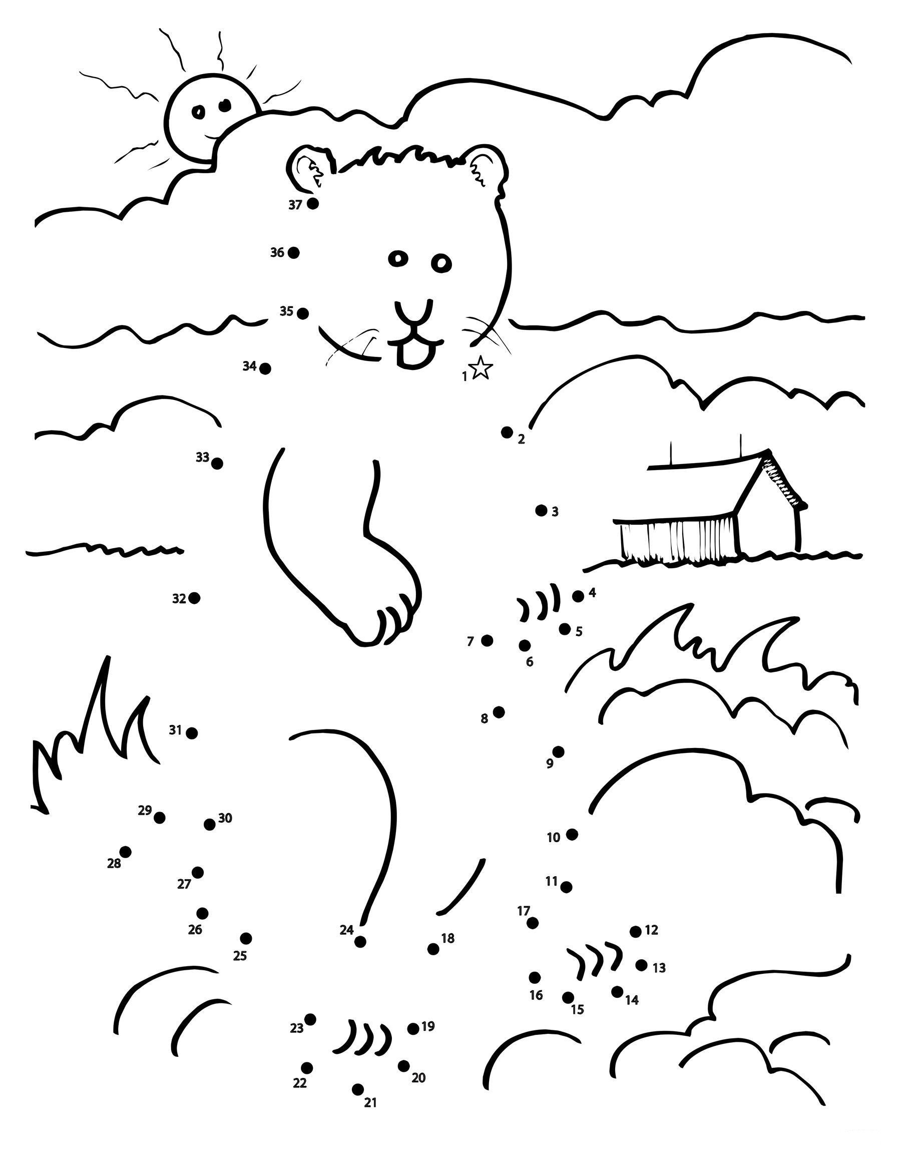 Groundhog Day Connect the Dot Worksheets